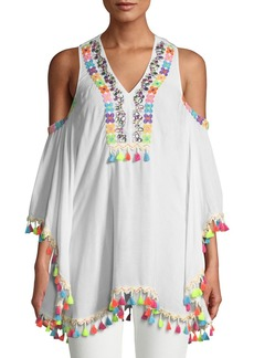 Romeo & Juliet Couture Cold-Shoulder Embroidered Tassel Coverup Tunic