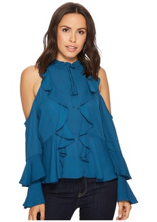 Romeo & Juliet Couture Cold Shoulder Ruffle Detail Top