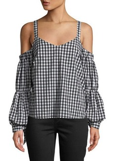 Romeo & Juliet Couture Cold-Shoulder Tie-Sleeve Gingham Blouse