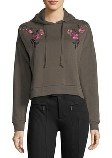 Romeo & Juliet Couture Cropped Floral-Embroidered Hoodie