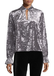 Romeo & Juliet Couture Crushed Velvet Keyhole Blouse