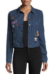 Romeo & Juliet Couture Denim Jacket with Embroidered Pins