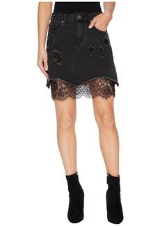 Romeo & Juliet Couture Distressed Denim Mini Skirt w/ Lace