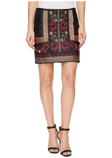 Romeo & Juliet Couture Embroidered Faux Leather Skirt