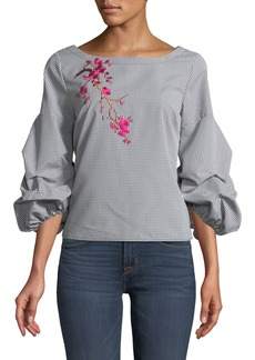Romeo & Juliet Couture Embroidered Gingham Blouse with Ruched Sleeves