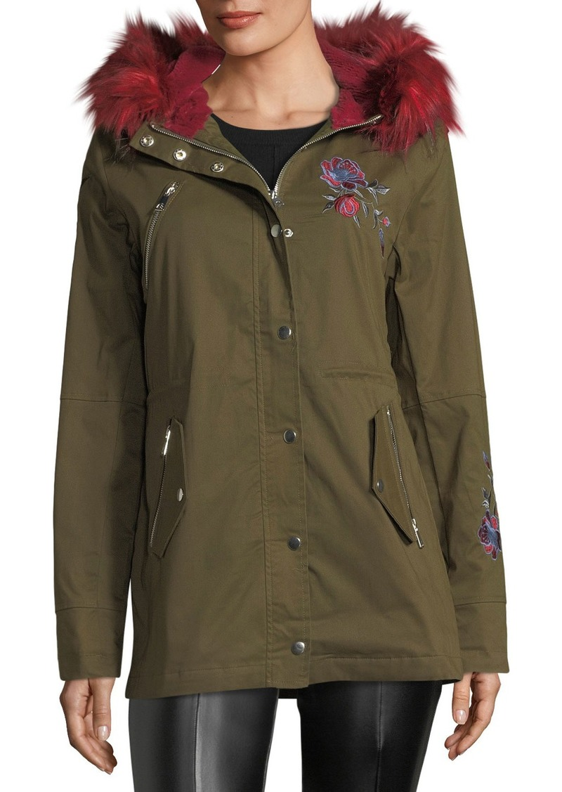 Romeo & Juliet Couture Faux-Fur-Trim Embroidered Cargo Jacket
