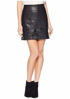 Romeo & Juliet Couture Faux Leather Embroidered Mini Skirt
