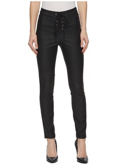 Romeo & Juliet Couture Faux Leather Leggings w/ Front Grommet Detail