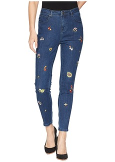 Romeo & Juliet Couture Floral Embroidered Denim Pants in Medium Denim