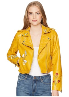 Romeo & Juliet Couture Floral Embroidered Faux Leather Jacket