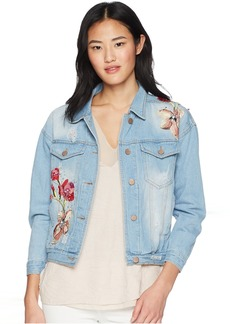 Romeo & Juliet Couture Floral Embroidery Denim Jacket