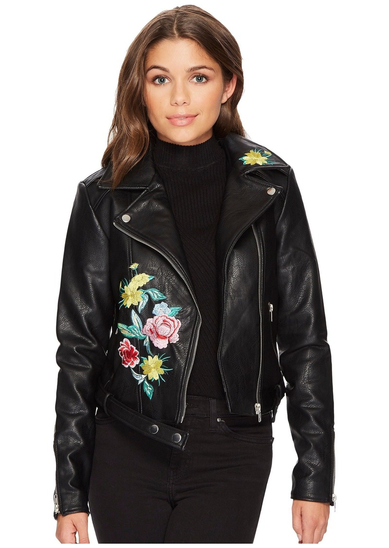 Romeo Juliet Couture Flower Embroidery Moto Jacket Outerwear