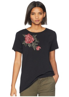 Romeo & Juliet Couture Flower Patch Short Sleeve Top