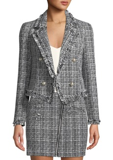 Romeo & Juliet Couture Fringe Pearly-Button Tweed Blazer