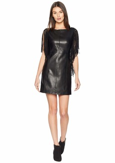 Romeo & Juliet Couture Fringe Sleeve Faux Leather Dress