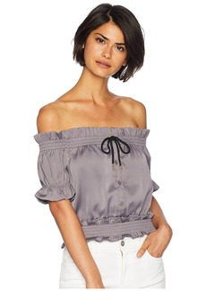 Romeo & Juliet Couture Front Tie Off Shoulder Short Sleeve Blouse