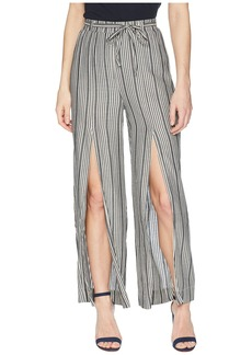 Romeo & Juliet Couture High Slit and Stripe Pants w/ Tie-Up Waist