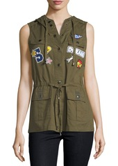 Romeo & Juliet Couture Hooded Patchwork Cargo Vest