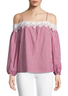 Romeo & Juliet Couture Lace-Trim Cold-Shoulder Gingham Blouse