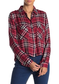 Romeo & Juliet Couture Long Sleeve Plaid Print Cropped Blouse