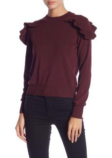 Romeo & Juliet Couture Long Sleeve Ruffle Knit Sweater
