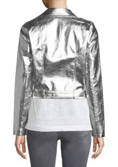 Romeo & Juliet Couture Metallic Faux-Leather Moto Jacket