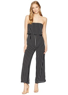 Romeo & Juliet Couture Off Shoulder Stripe Jumpsuit