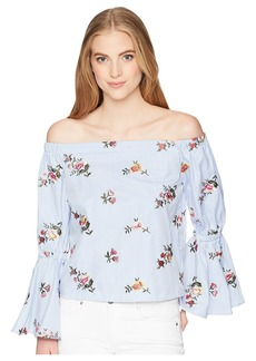 Romeo & Juliet Couture Off the Shoulder Bell Sleeve Shirt w/ Floral Embroidery