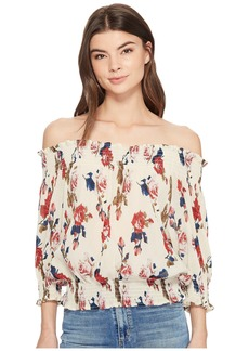 Romeo & Juliet Couture Off the Shoulder Floral Chiffon Top