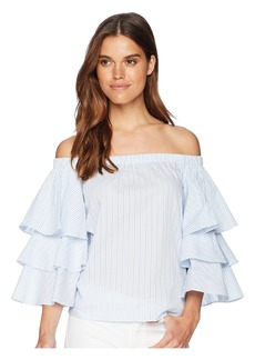 Romeo & Juliet Couture Off the Shoulder Ruffle Sleeve Shirt