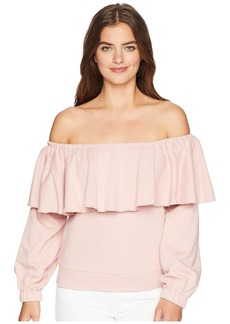 Romeo & Juliet Couture Off the Shoulder Ruffle Sweatshirt