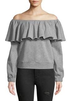 Romeo & Juliet Couture Off-The-Shoulder Ruffle Sweatshirt