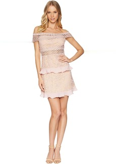 Romeo & Juliet Couture Off the Shoulder Solid Color Lace Dress