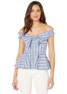 Romeo & Juliet Couture Off the Shoulder Stripe Shirt w/ Fit and Flare Fit