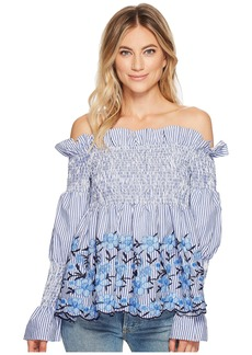 Romeo & Juliet Couture Off the Shoulder Striped and Embroidered Blouse