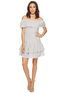 Romeo & Juliet Couture Off the Shoulder Striped and Ruffle Dress