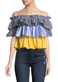 Romeo & Juliet Couture Off-The-Shoulder Tiered-Pattern Blouse