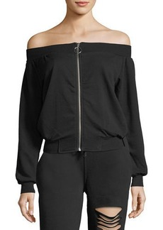Romeo & Juliet Couture Off-the-Shoulder Zip-Up Sweatshirt