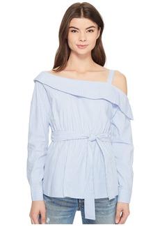 Romeo & Juliet Couture One Shoulder Tie-Up Waist Shirt