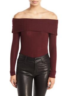 Romeo & Juliet Couture Ottoman-Knit Off-the-Shoulder Bodysuit