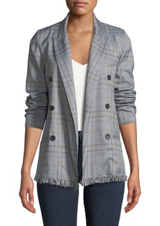 Romeo & Juliet Couture Oversized Fringe-Hem Checkered Blazer