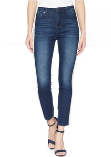 Romeo & Juliet Couture Pearl Side Trim Skinny Jeans in Medium Denim
