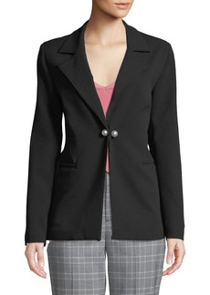 Romeo & Juliet Couture Pearlescent-Button Seamed Crepe Blazer