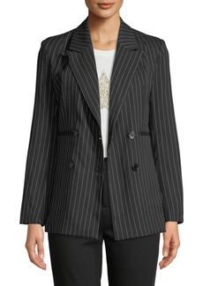 Romeo & Juliet Couture Pinstriped Double-Breasted Blazer