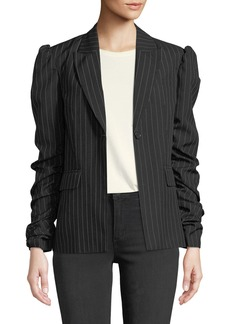 Romeo & Juliet Couture Pinstriped Ruched-Sleeve Blazer