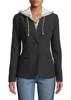 Romeo & Juliet Couture Pinstriped Twofer Hoodie-Blazer