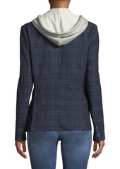 Romeo & Juliet Couture Plaid Twofer Hoodie-Blazer