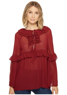 Romeo & Juliet Couture Pleated Woven Top