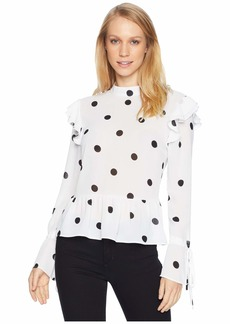 Romeo & Juliet Couture Polka Dot Blouse with Keyhole Back