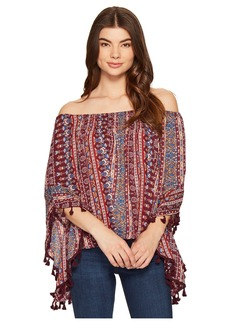Romeo & Juliet Couture Printed Top with Tassels